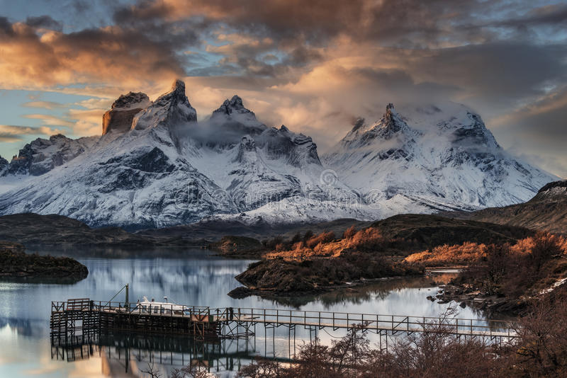 Cuernos del Paine & Almirante Neto. The Torres del Paine landscape is dominated by the huge Paine Massif, also known as the Cordillera del Paine. Despite being stock photos