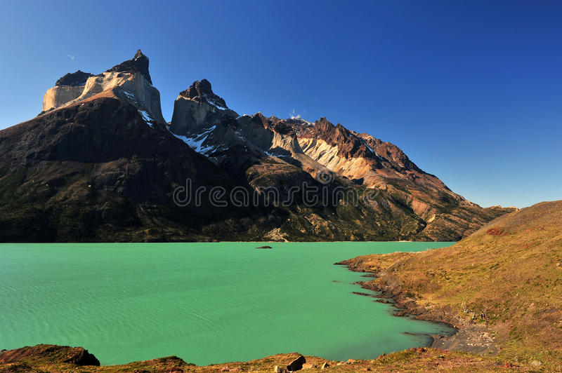 Cuernos del Paine. In Torres del Paine National Park royalty free stock images