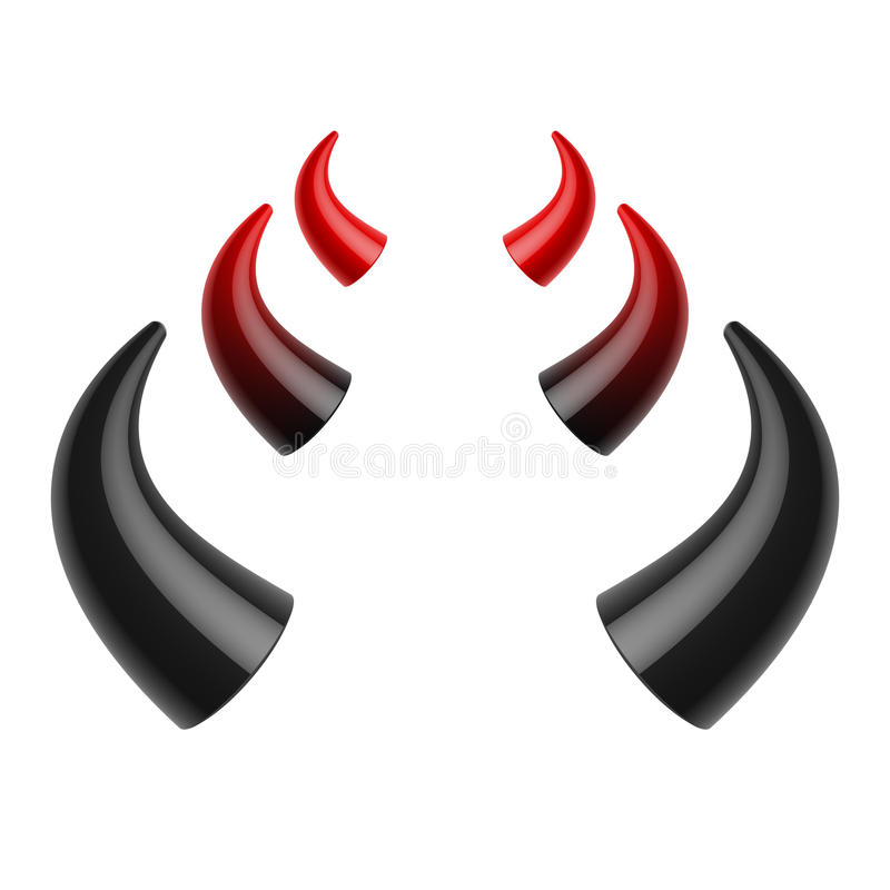 Cuernos rojos y negros del diablo stock de ilustración
