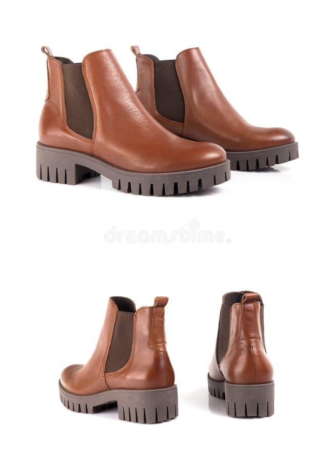 Cuero de zapatos marrón femenino imagen de archivo libre de regalías