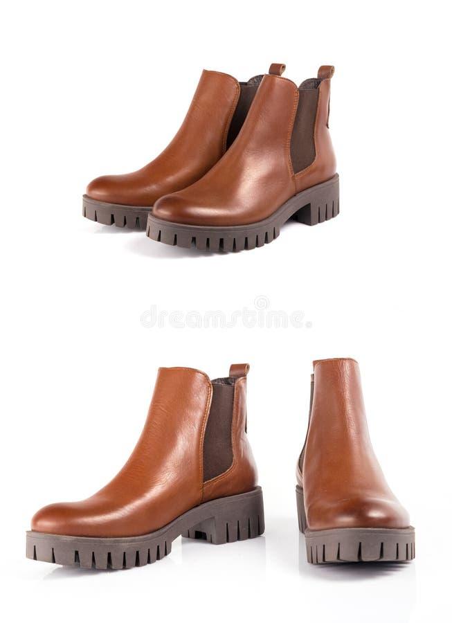 Cuero de zapatos marrón femenino imagen de archivo