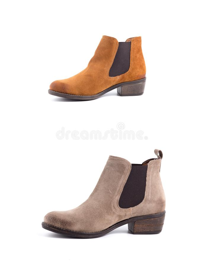 Cuero de zapatos marrón femenino imágenes de archivo libres de regalías