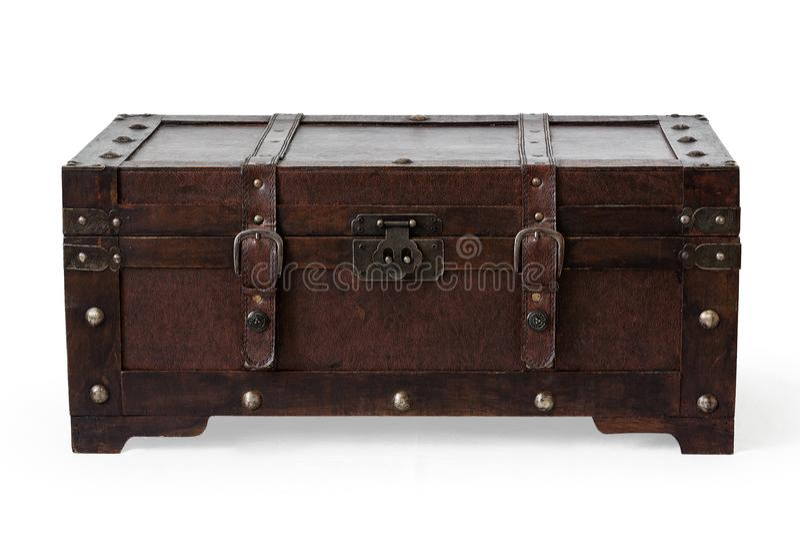 Cuero y madera marrones del pecho fotografía de archivo