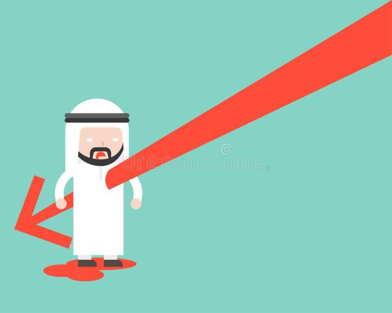 Cuerpo árabe de los businessman's de la puñalada de la flecha que cae, turno común del diseño stock de ilustración