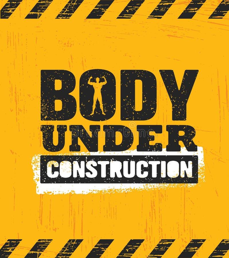 Cuerpo bajo construcción Concepto del elemento del entrenamiento y del diseño del gimnasio de la aptitud Muestra de encargo creat ilustración del vector