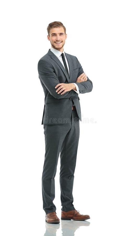 Cuerpo completo del hombre de negocios hermoso joven aislado en el backg blanco imagen de archivo libre de regalías