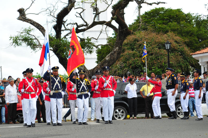 Cuerpo de Bomberos. PENONOME, PANAMA- NOVEMBER 3: Penonome Cocle Panama. National Firefigthers Unit marched during Separation from Colombia celebration on royalty free stock image