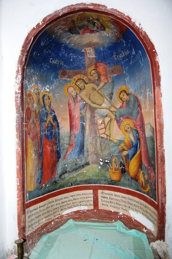 Cuerpo de Jesús que quita de la cruz foto de archivo