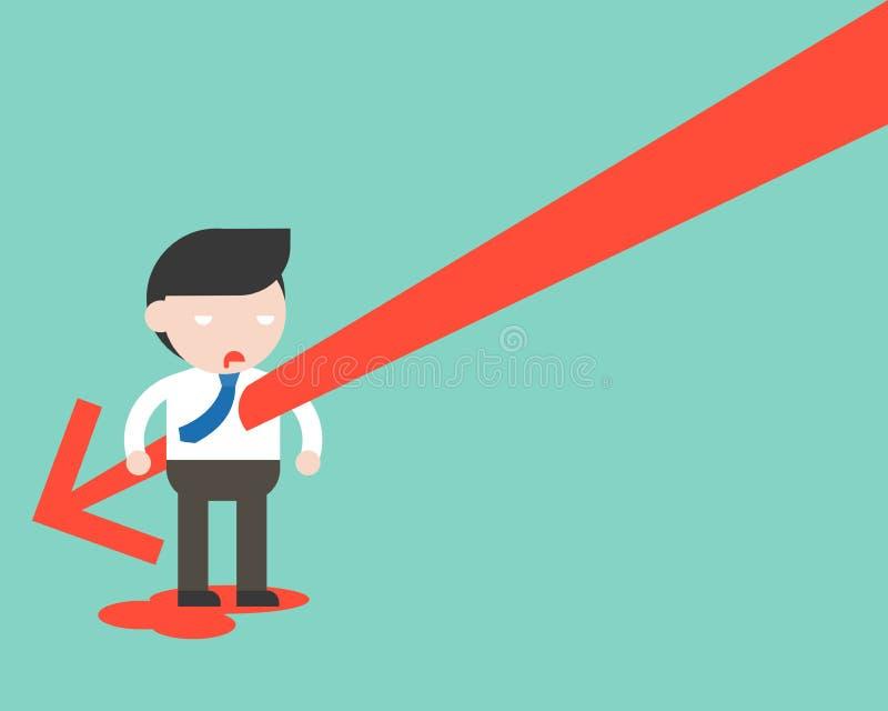 Cuerpo de los businessman's de la puñalada de la flecha que cae, disminución común del volumen de ventas stock de ilustración