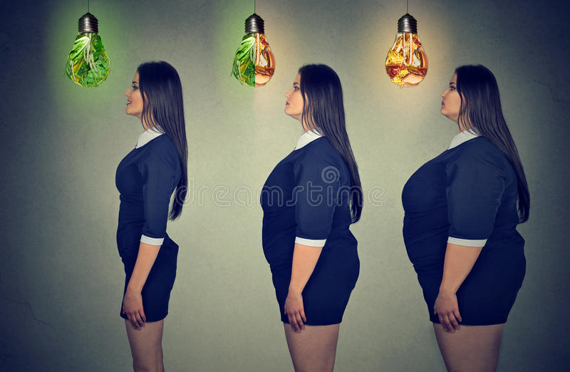 Cuerpo del ` s de la mujer antes y después de la pérdida de peso Concepto de la atención sanitaria y de la dieta fotografía de archivo