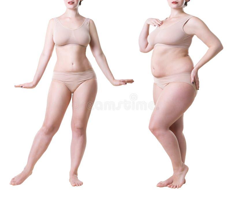 Cuerpo del ` s de la mujer antes y después de la pérdida de peso aislado en el fondo blanco fotografía de archivo