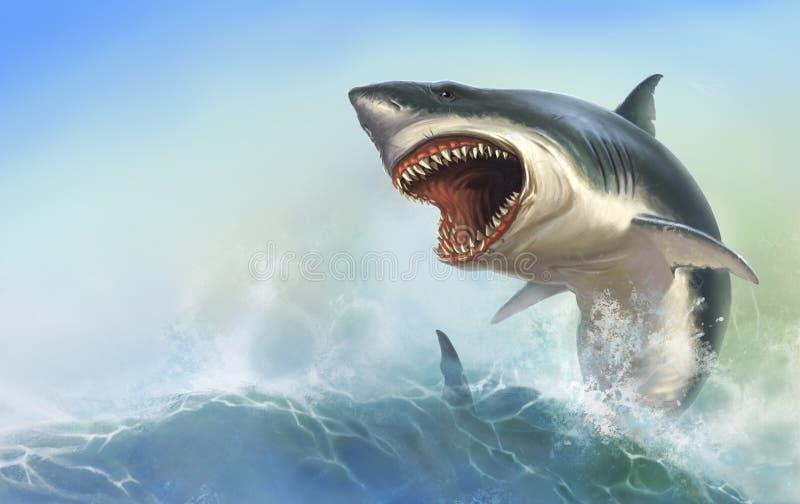 Cuerpo del tiburón de Great White en la cuba de tintura libre illustration