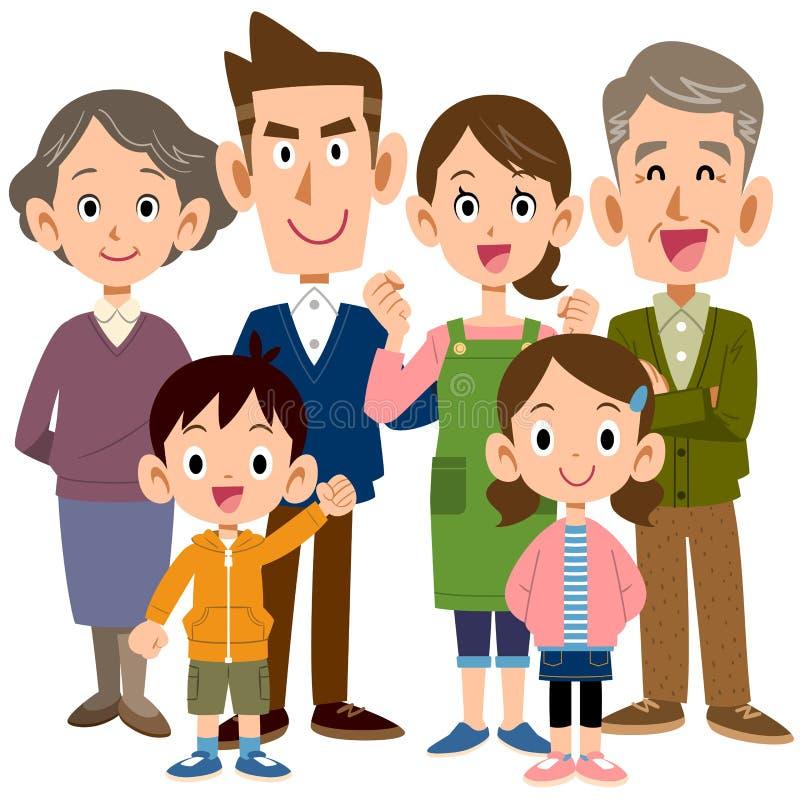 Cuerpo entero de las personas de las generaciones 6 de la familia 3 stock de ilustración