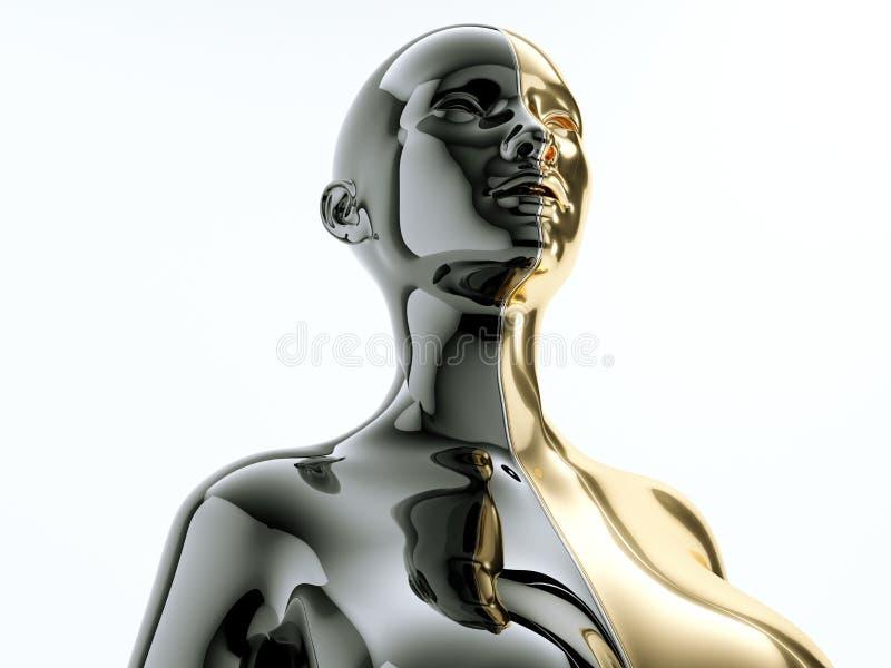 Cuerpo femenino separado por la línea como símbolo de la balanza ilustración del vector