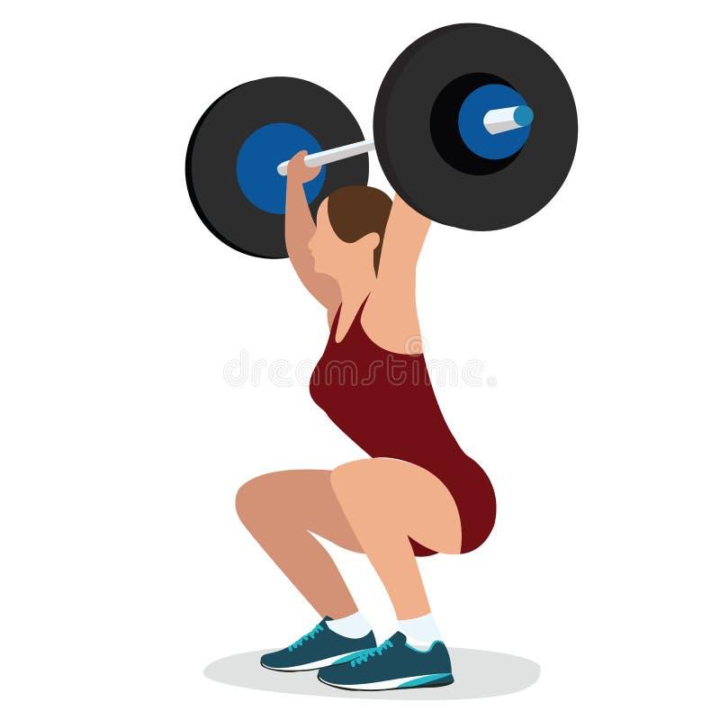Cuerpo fuerte de la mujer del levantamiento de pesas del entrenamiento de la elevación de la barra de la fuerza del entrenamiento stock de ilustración