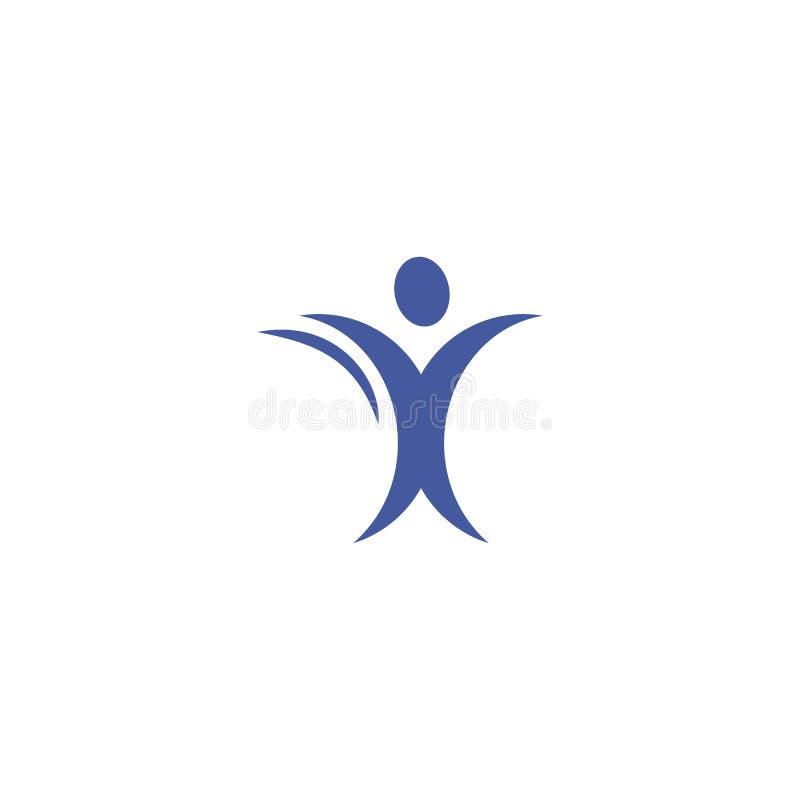 Cuerpo humano aislado del color azul abstracto en logotipo de la silueta del movimiento en el ejemplo blanco del vector del fondo stock de ilustración