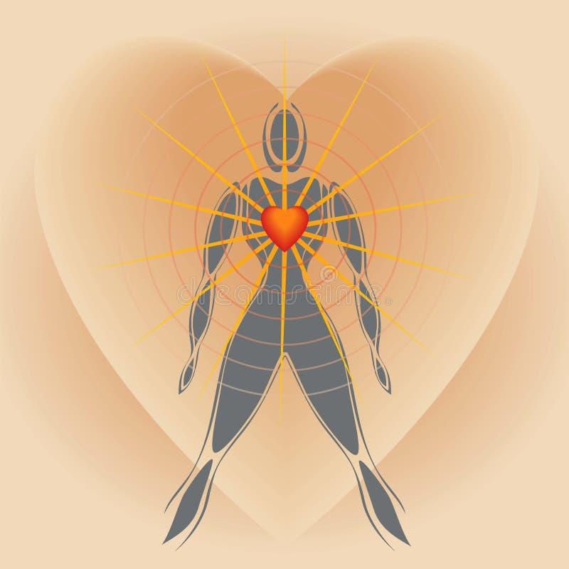 Cuerpo humano con el corazón grande que irradia rayos de la luz stock de ilustración
