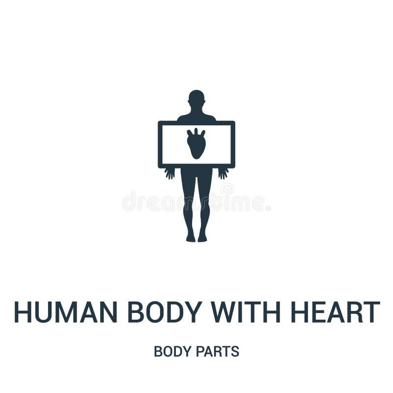 cuerpo humano con vector del icono de la silueta del corazón de la colección de las partes del cuerpo Línea fina cuerpo humano co ilustración del vector