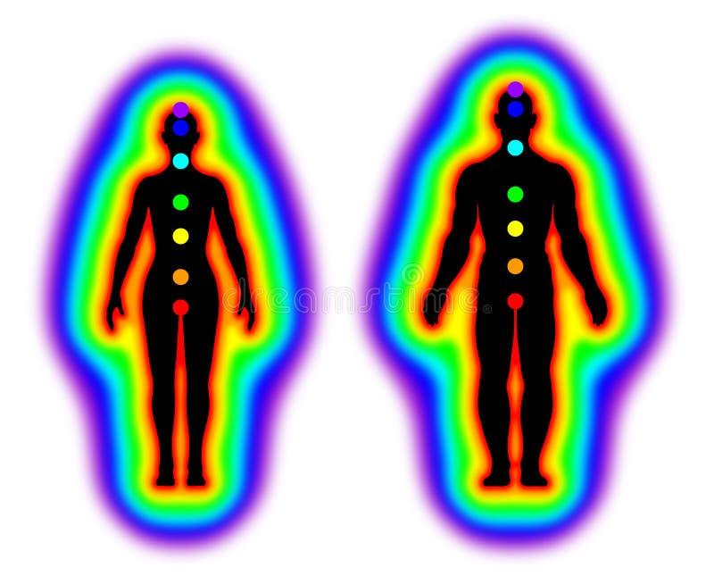 Cuerpo humano de la energía - aureola y chakras en el fondo blanco - ejemplo libre illustration