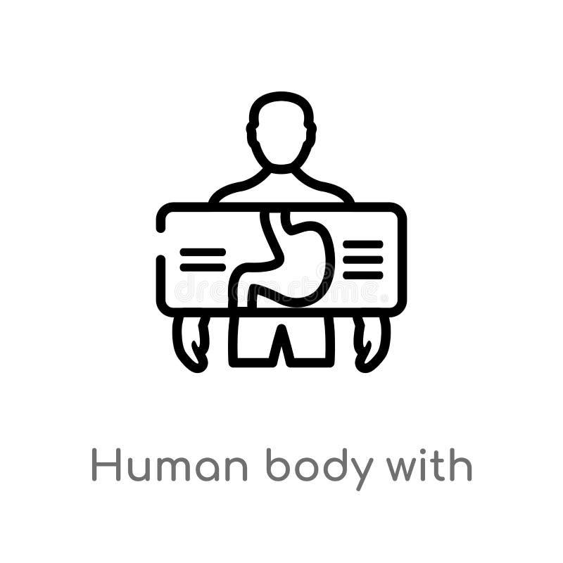 cuerpo humano del esquema con la placa del rayo de x que se centra en icono del vector del estómago línea simple negra aislada ej stock de ilustración