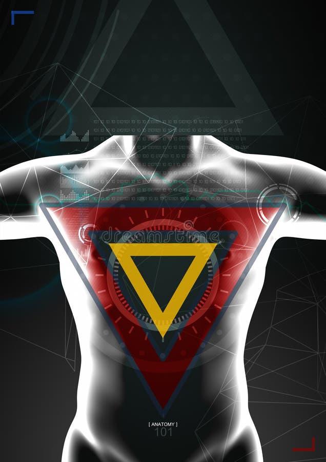 Cuerpo humano por la radiografía en fondo ilustración del vector