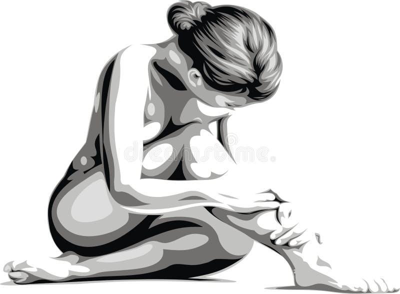 Cuerpo muy bonito de la mujer ilustración del vector