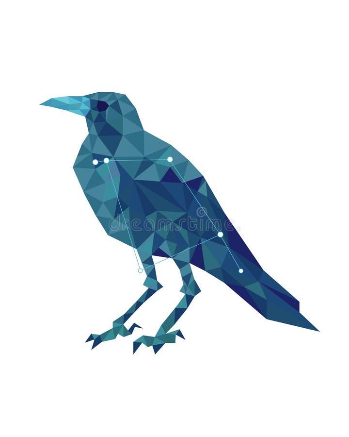 Cuervo azul en estilo poligonal en el fondo blanco stock de ilustración