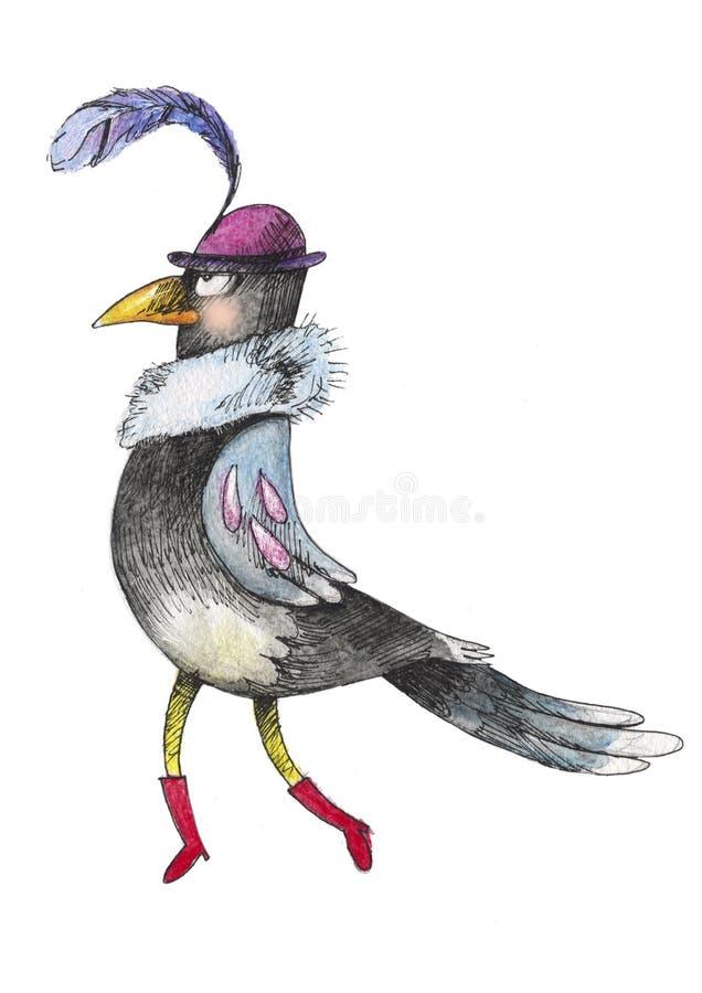cuervo de la acuarela foto de archivo