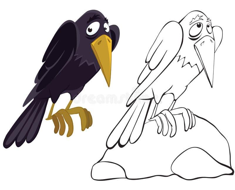 Cuervo en la piedra stock de ilustración