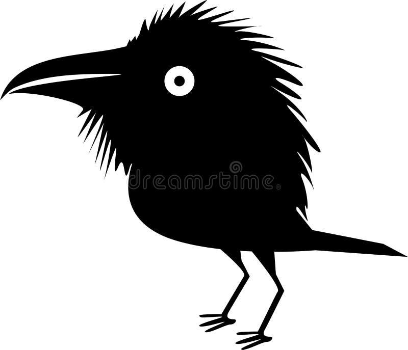 Cuervo negro divertido ilustración del vector