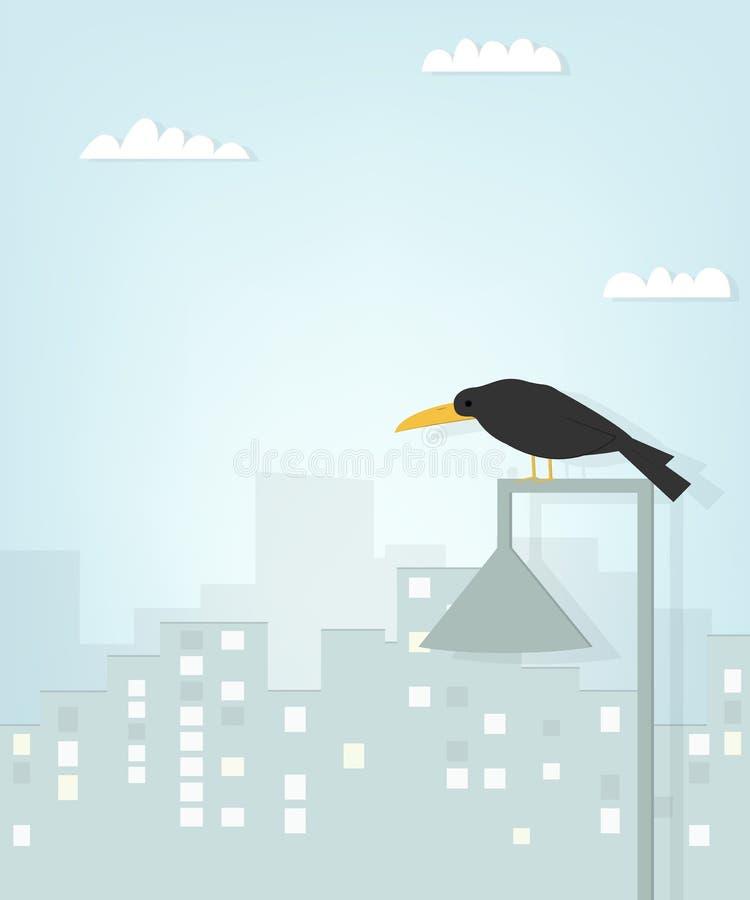 Cuervo negro en la ciudad stock de ilustración