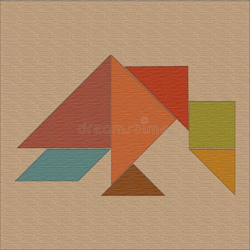 Cuervo presentado de formas geométricas, textura de madera, rompecabezas chino stock de ilustración
