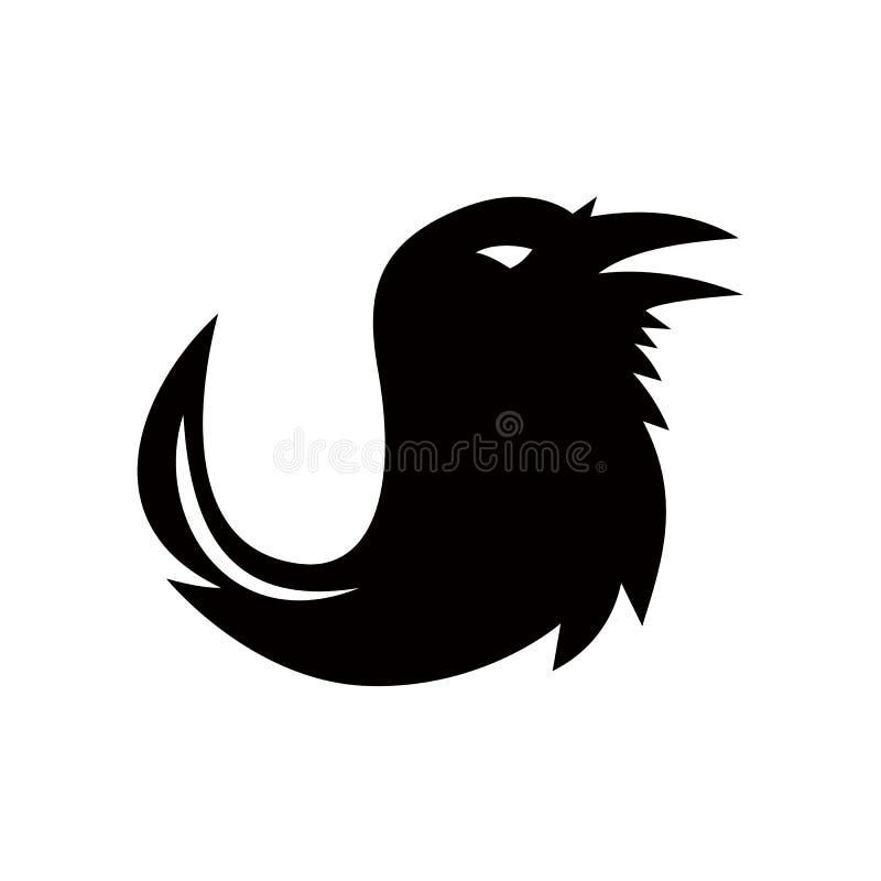 Cuervo Quill Pen Tail Icon stock de ilustración