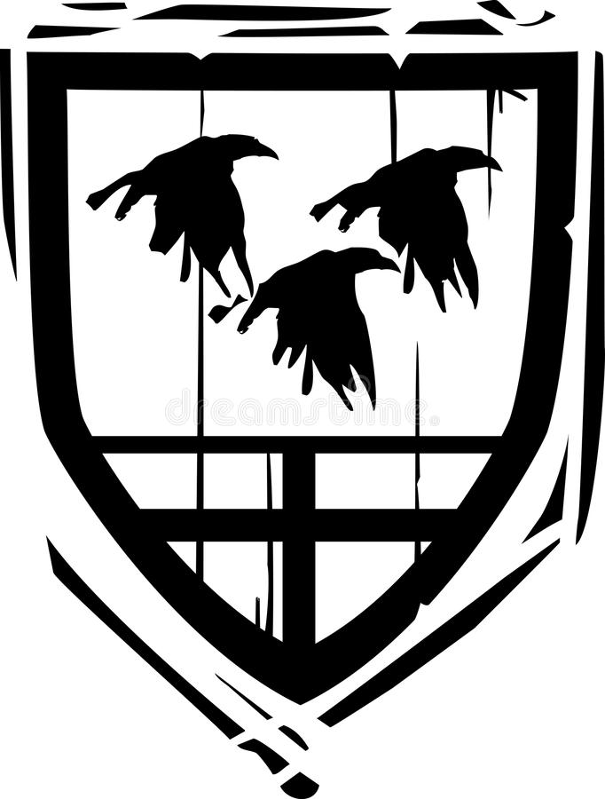 Cuervos heráldicos del escudo ilustración del vector