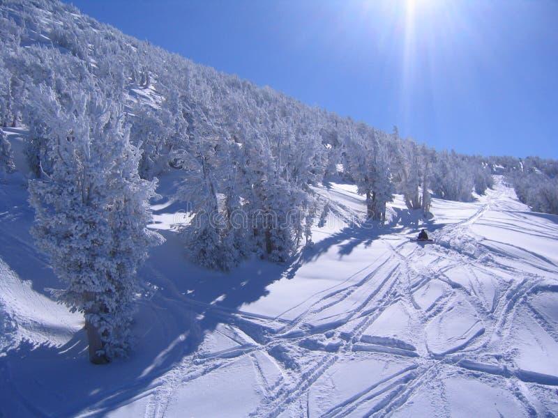 Cuesta asoleada del esquí imagenes de archivo