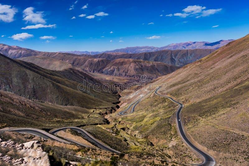 Cuesta De Lipan Serpentyna Atacama Uliczna pustynia Chile obrazy royalty free
