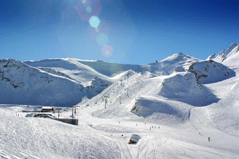 Cuesta del esquí de Ischgl Austia imagen de archivo