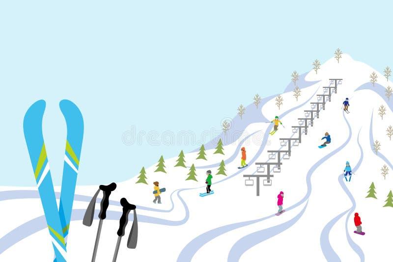 Cuesta del esquí, horizontal ilustración del vector