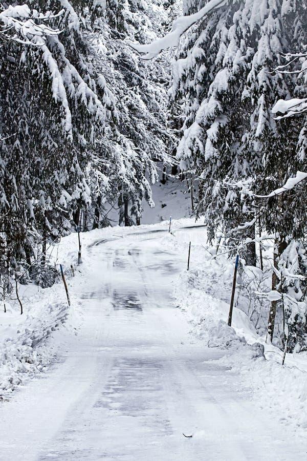 Cuesta nevada peligrosa de la ruta de la montaña fotografía de archivo libre de regalías