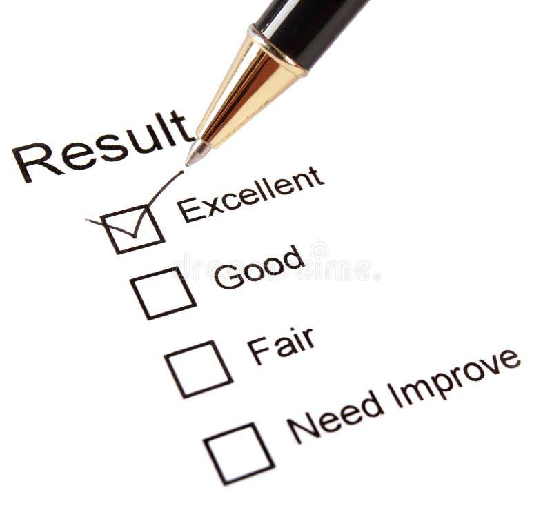 Cuestionario de la encuesta sobre la calidad imagen de archivo