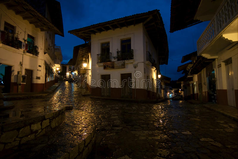 CUETZALAN, MEXICO - 2012: A street at night after the rain. stock images