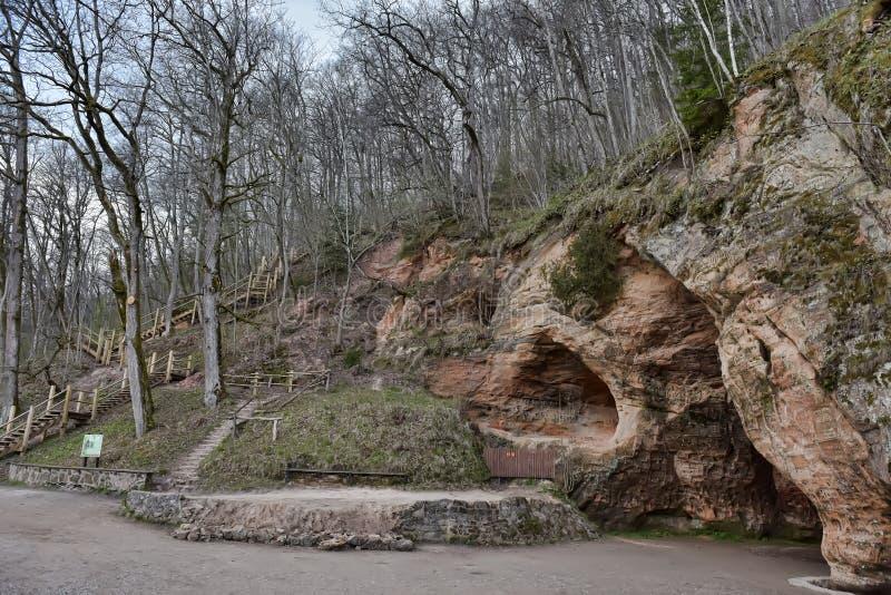Cueva de Gutmanis, Letonia imagen de archivo