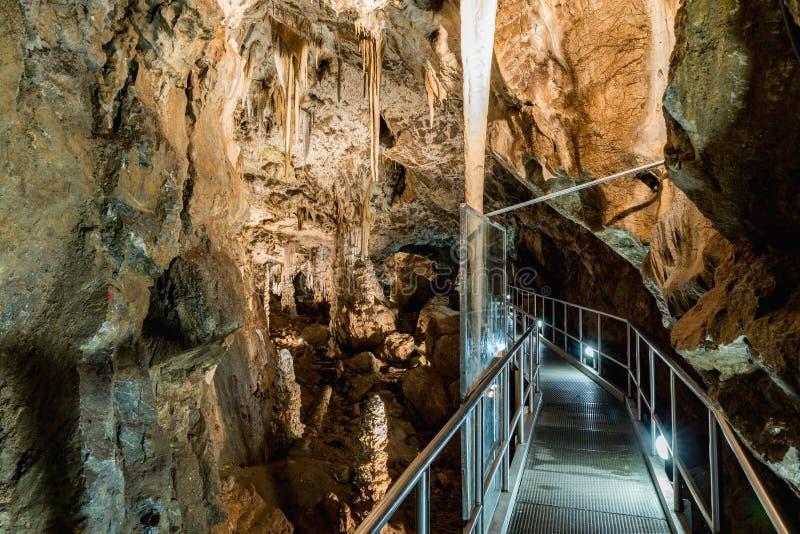 Cueva de Punkva en el área del karst de Moravian cerca de Brno, República Checa Una estalactita increíble en el karst de Moravian foto de archivo