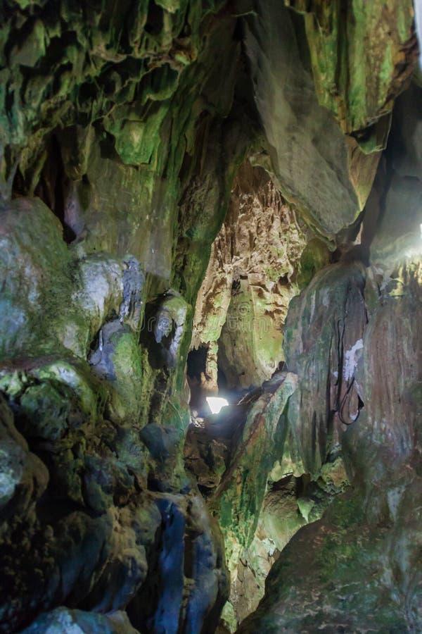 Cueva del Indio grotta i nationalparken Vinales, gröngöling royaltyfria bilder