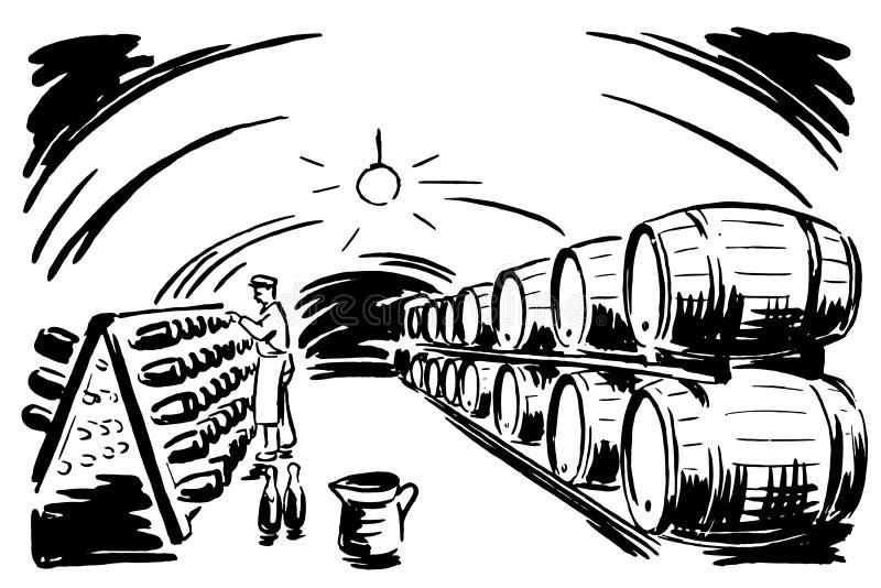 Cueva 01 del vino stock de ilustración