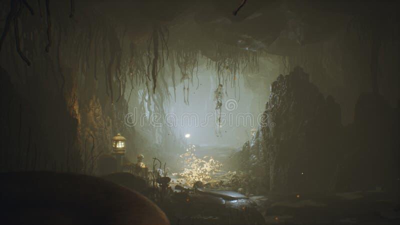 Cueva enorme antigua de la fantas?a llenada de las setas antiguas y de la niebla m?gica con la representaci?n del polvo 3D libre illustration