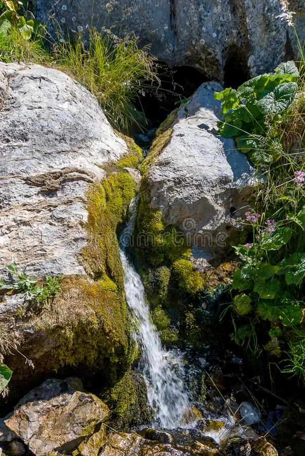 Cueva koppar, f?delse av floden Pisuerga i nationalparken av Fuentes Carrionas Palencia royaltyfria foton