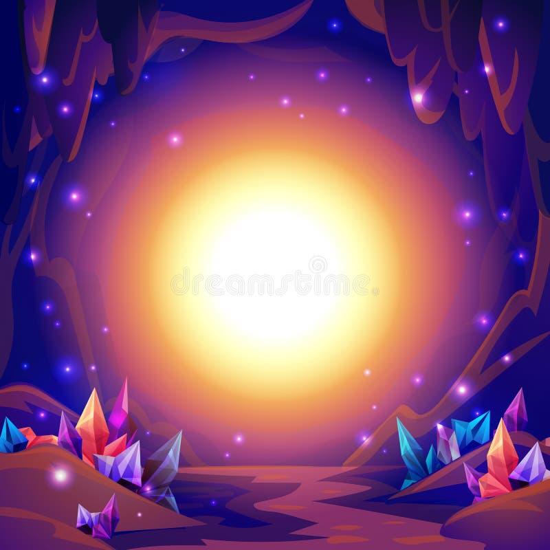 Cueva mágica Paisaje de hadas de una cueva con los cristales y las luces del misterio Fondo de la fantasía stock de ilustración