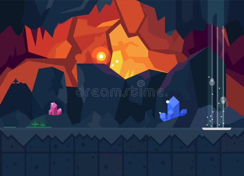 Cueva misteriosa con los cristales mágicos stock de ilustración