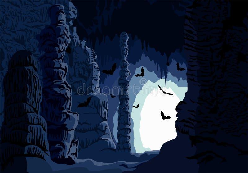 Cueva subterráneo del karst del vector con los palos ilustración del vector